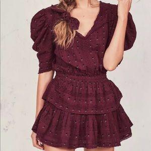 Loveshackfancy burgundy marissa dress S